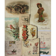 Album of over 335 colour-printed Christmas and New Year cards, some with embossed borders, with some scraps, in a few cases publishers can identified and they include Marcus Ward & Co, Joseph Mansell. L. Prang & Co, D & S, E & S, and R. Canton,