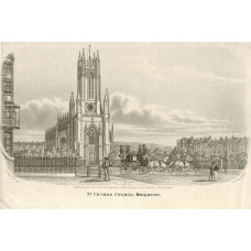 ' St Peter's Church, Brighton '  Mail coach and figures in front of church, after G. Earp, Junr. by Charles Hunt.